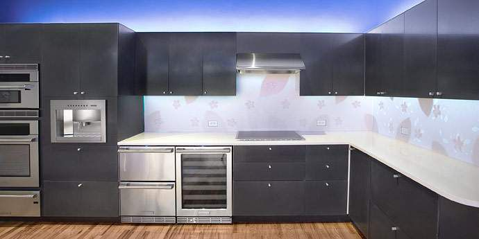 Corian Anthracite, Кухонные шкафы (фото)